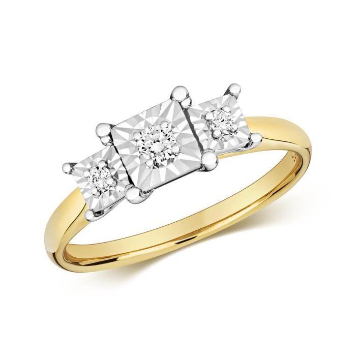 Bague Femme Trilogie Or 375-1000 et Diamant Brillant 0.10 Carat GH - I1 40303