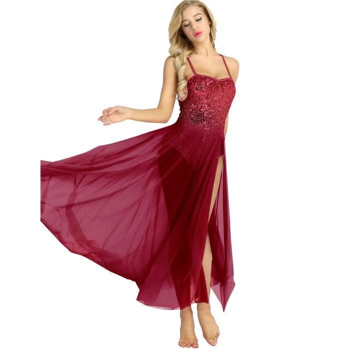 Femme Robe Danse à Paillette Latine Justaucorps Danse Classique Costume  Danse Tenue XS-XL Bordeaux 904ac358689