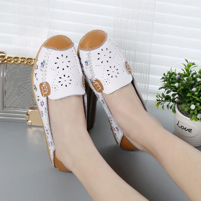 Doux Femmes Casual Plat Bateau Peas Rmbroidered 1290 Bas c Blanc Légère Extérieur Chaussures A4r46