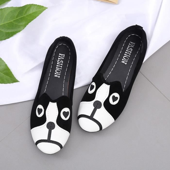 7587 Bout Animal Doug Rond Plat Modehall Simple Cartoon Simples Fminin Chaussures Souliers Talon 5Xq7Zw8X