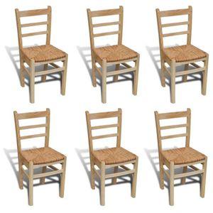 CHAISE Lot de 6 chaises Winona en bois naturel -