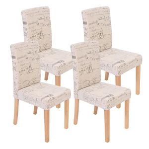 CHAISE Lot de 4 chaises de séjour Littau, tissu words fab