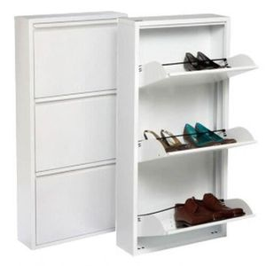 MEUBLE À CHAUSSURES Armoire à chaussures avec 3 portes, métal, blanc
