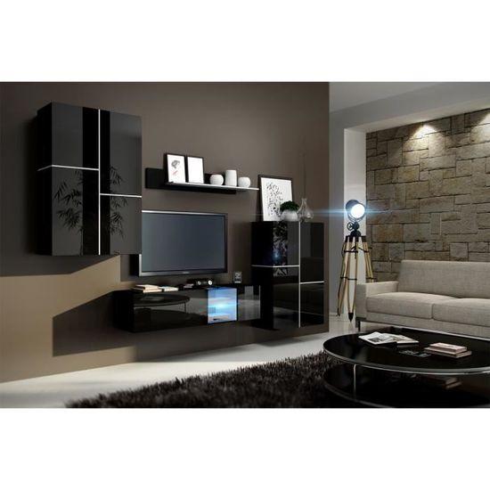 Meuble De Salon Meuble Tv Complet Suspendu Inbox Noir Led Meuble
