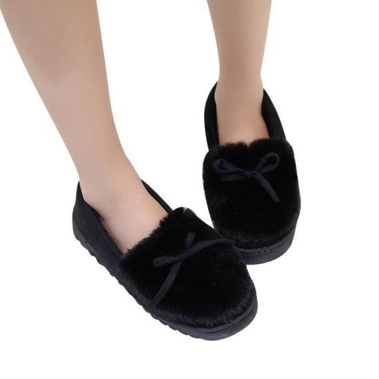 Amyamyi@Mode féminine Bow Low Chaussures Dosse Slip Bas plus de velours Bottes de neige WONG3387 Noir Noir - Achat / Vente botte