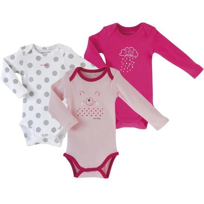 Lot de 3 bodies bébé Fille SUCRE D'ORGE - manches longues Rose et Blanc