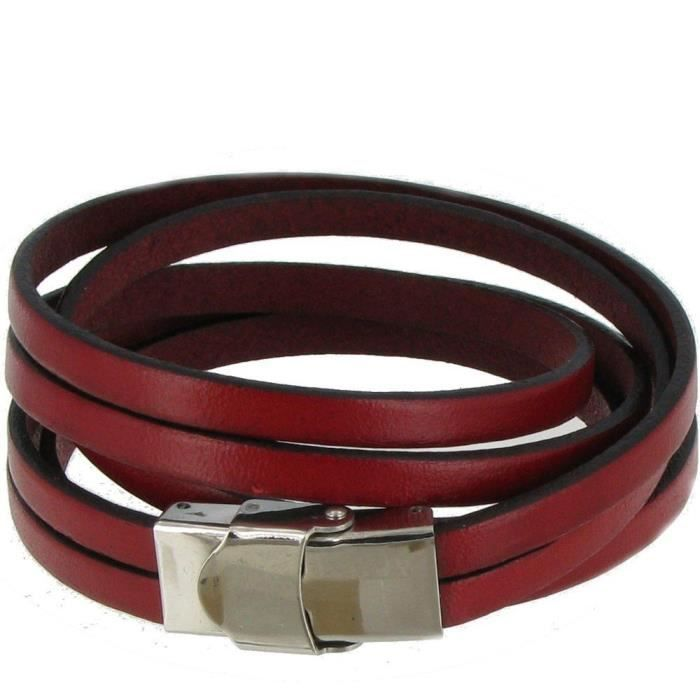 Womens Bracelet Leather Triple Turn With Stainless Steel Clasp - Classics BT4IN