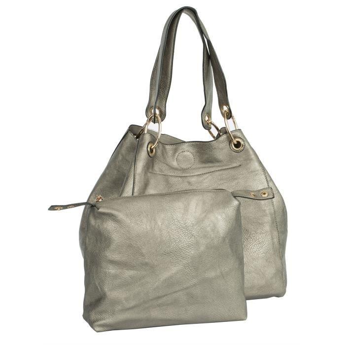 Deux en un seau pour femmes de style Grand sac dépaule fourre-tout BJ9GA