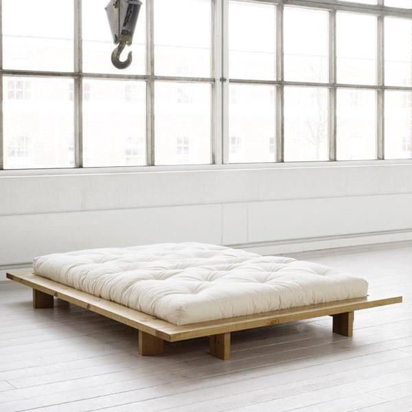 lit comptemporain en bois massif et futon 140x200 achat vente structure de lit lit design. Black Bedroom Furniture Sets. Home Design Ideas