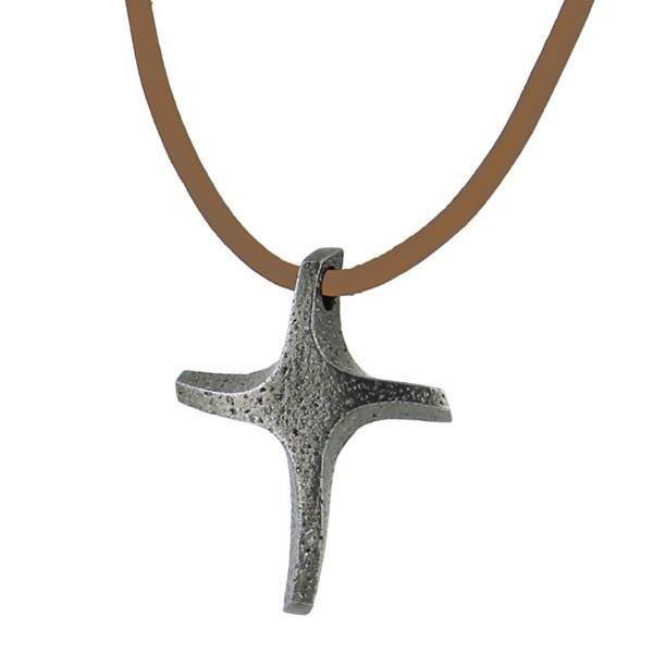 Pendentif croix argenté unisexe avec collier (52 cm) -Idée St valentin et cadeau bijou