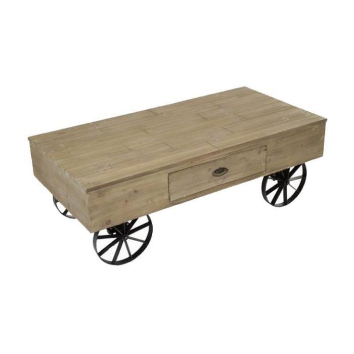 Table basse roulettes industriel loft en bois clair et m tal noir 120x41x77cm achat vente - Table basse metal industriel loft ...
