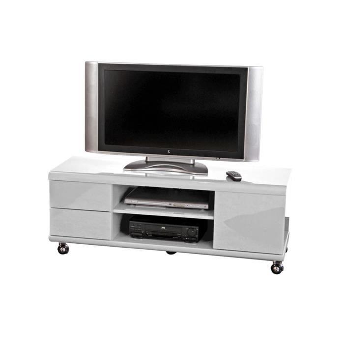 meuble tv meuble tv sur roulettes en mdf blanc laqu sparo - Meuble Tv Blanc Sur Roulettes