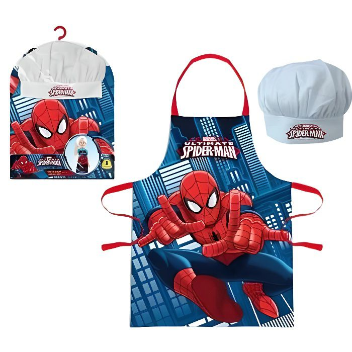 tablier toque enfant spiderman achat vente tablier de cuisine cdiscount. Black Bedroom Furniture Sets. Home Design Ideas