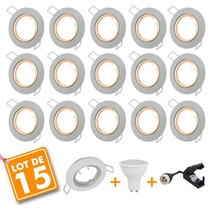4eb68bbd3a3f8 Lot de 15 Spot LED encastrable complet orientable blanc avec Ampoule GU10  230V 5W (Blanc chaud 2700K)
