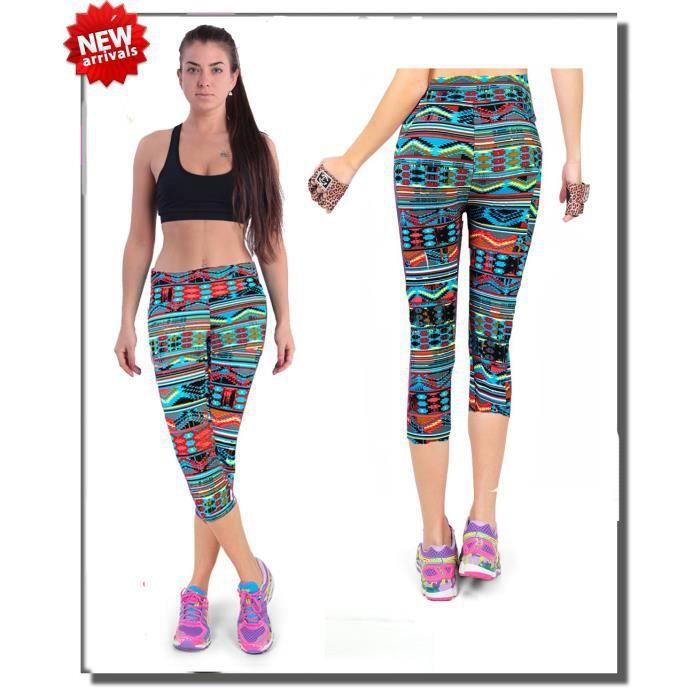 Legging Femme Corsaire Sport Pantalon Multicolore - Prix pas cher ... 52dbb264df0