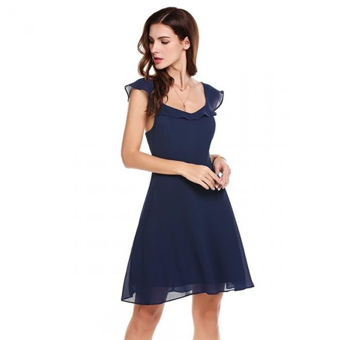 robe Casual sans manches Solid O Neck Lace-up Backless Vintage Style A-line