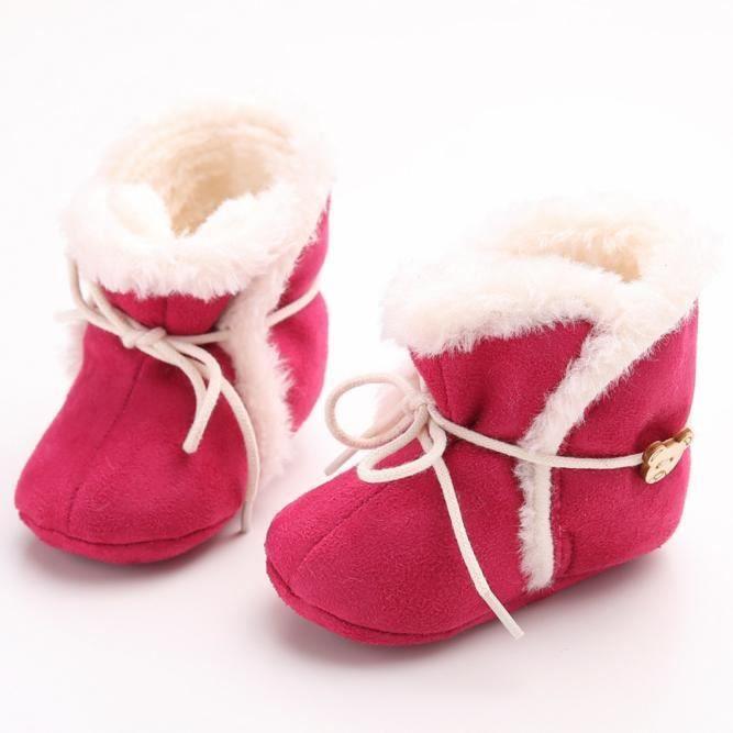 Bottes de neige molles pour bébés semelles molles bottes tout-petits rouge