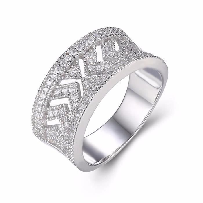 ANGG Argent sterling 925 AAA Zircone cubique Solitaire Band Bague