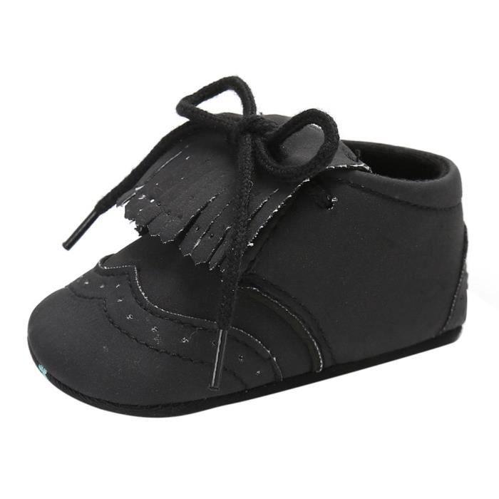 BOTTE Infantile Bébé Filles Garçons Tassel Crib Chaussures Doux Semelle Anti-slip Sneakers Toile@NoirHM