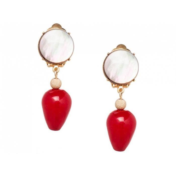 Gemshine - Dames - Boucles doreilles - clip - Or - Mère - Jade - Gris - Rouge - DROP - 3,5 cm