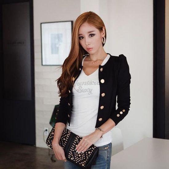 Hauts Costume Blazer Manteau Veste Dames Outwear noir Top Slim Casual Femmes H8Tnq1a