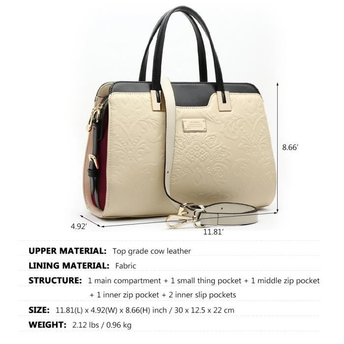 Ana Lublin Dames Sac fourre-tout Sac à main en cuir noir véritable sac à bandoulière Top Handle bourse EFT9H