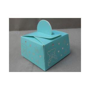 BOÎTE À DRAGÉES 50 boîtes à dragées baptême ours et coeur (bleu)