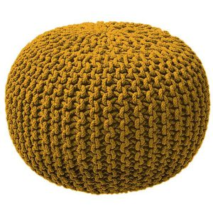 POUF - POIRE TODAY Pouf tricot 100% coton - Ø45xH30 cm - Jaune