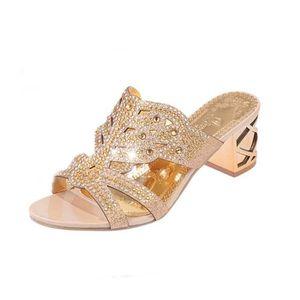 CHAUSSON - PANTOUFLE Femmes strass Pantoufles Heels Femmes Mode ouvert ... d806f282e134