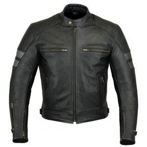 BLOUSON - VESTE Zolki - Blouson Moto Homme Cuir Noir Gris - Veste