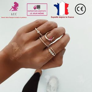 BAGUE - ANNEAU LCC® bagues anneau argent femme 5 pièces pas cher