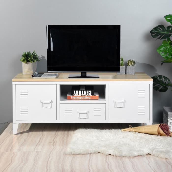 LIVERPOOL Meuble TV en métal 2 portes 1 tiroirs - Métal blanc et décor chêne - L 120 x P 40 x H 48 c