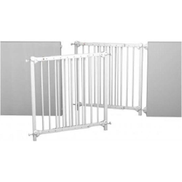 at4 barrière de sécurité enfant amovible et portillon - 73-110 cm - bois  laqué - blanc - Pas Cher barrière de sécurité bébé - maintient bébé en  sécurité ... c8748336d368