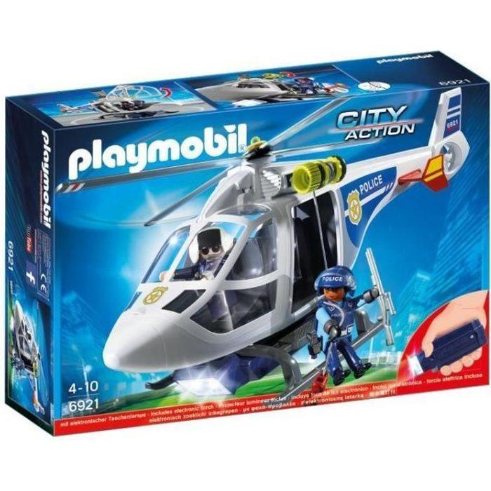 PLAYMOBIL 6921 - City Action - Hélicoptère de Police avec Projecteur de Lumière