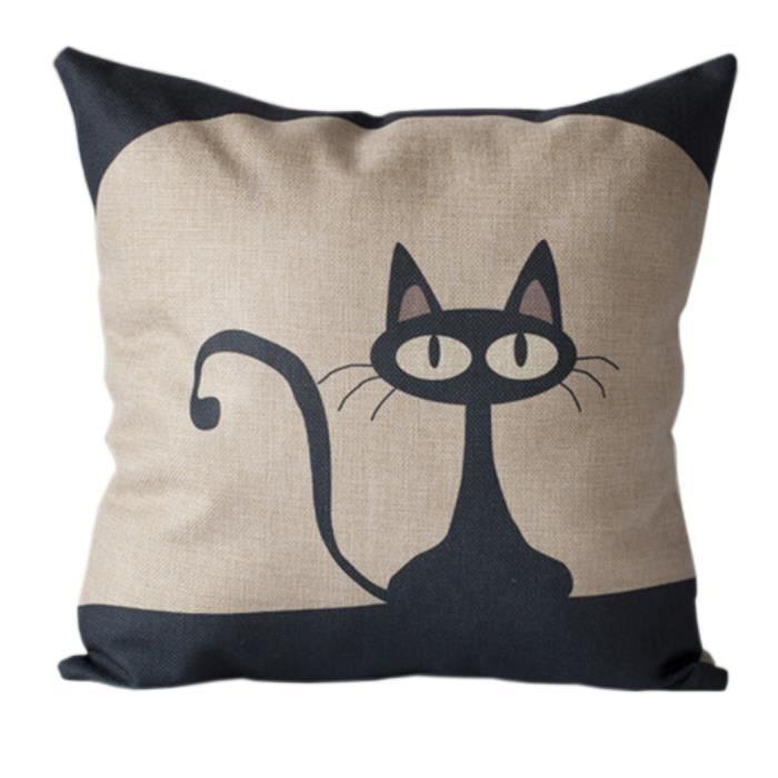 go4u taie oreille housse de coussin chat noir 45 45cm maison canap d cor coton linen achat. Black Bedroom Furniture Sets. Home Design Ideas