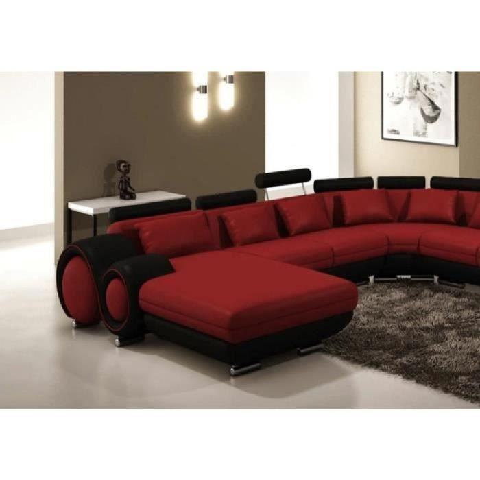 Canapé panoramique cuir rouge et noir Angle droit Achat Vente