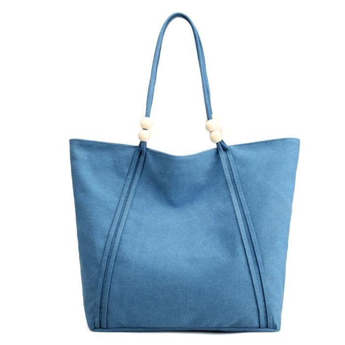 Bleu Lady Tote Bleu Poi Épaule Femme sac nbsp;big free430 À Shopping Marine En Toile Main gnwgPqAX