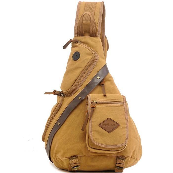 Poitrine pack sac à bandoulière vintage toile dépaule Sling Sac à dos KBBKF