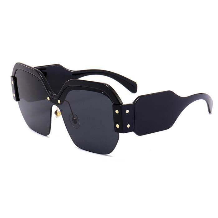 0bd90b980458 Lunettes de soleil mixte homme et femme marque de luxe sunglasses avec  Grande Cadre Rétro Noir