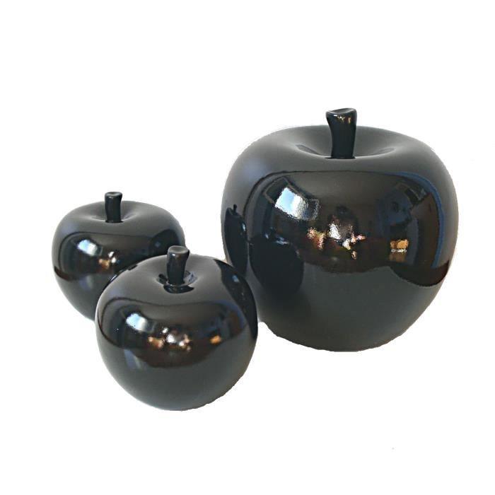 Pommes noires c ramique j line lot 3 deco achat vente for Pomme ceramique pour decoration
