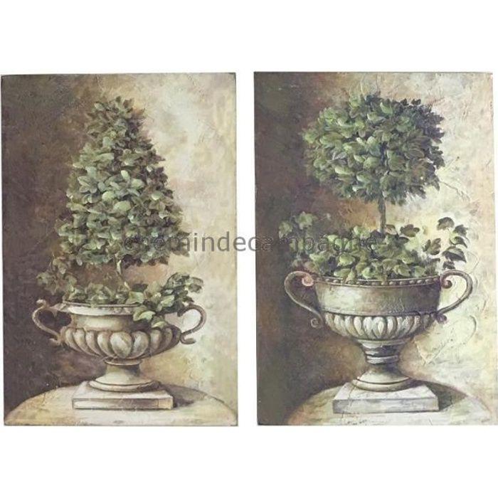 2 Tableaux Cadres En Bois Peint Buis Vasque Médicis 30X20 Cm 20 Cm