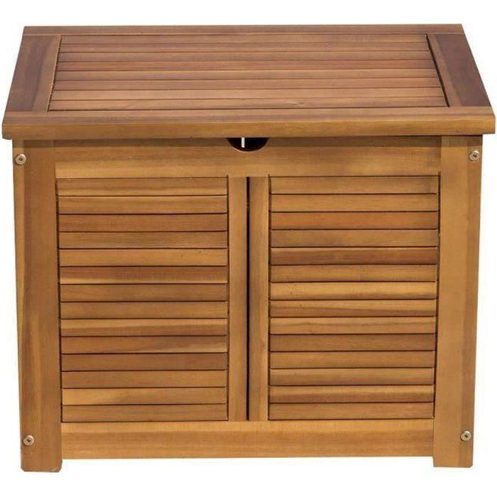 Finlandek coffre de rangement de jardin en bois d 39 acacia naturel achat vente coffre d - Coffre de jardin bois ...