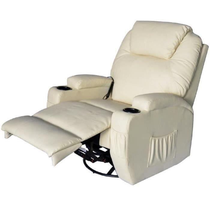 Fauteuil de massage relaxation électrique chauffant inclinable pivotant  360° avec repose-pied ajustable coloris crème neuf 69 6c92231c5fb9