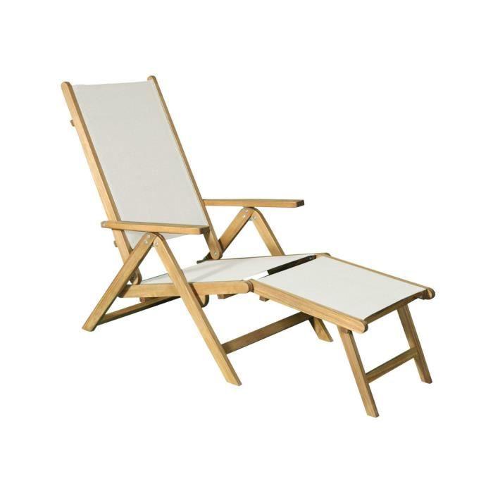 Chaise Deck Longue En Achat De Fsc Acacia Et Jardin Ecru Coton k0wONZ8PXn