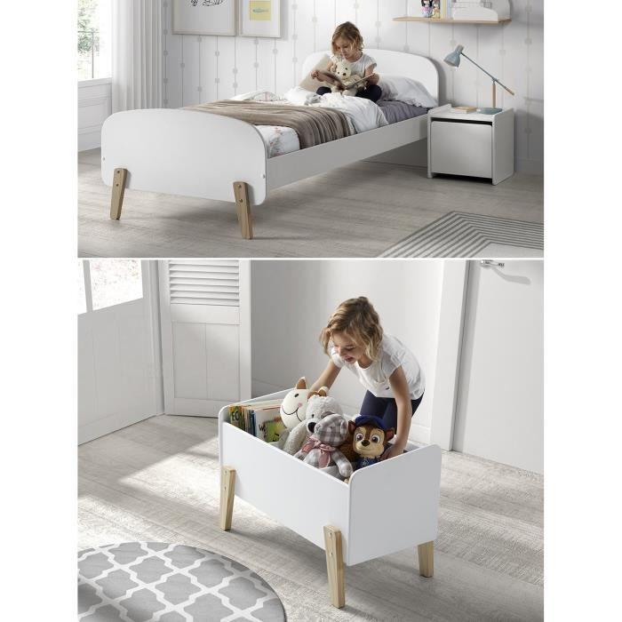 Kiddy chambre enfant compl te style scandinave en bois pin massif et mdf laqu blanc l 90 x l - Chambre style scandinave ...