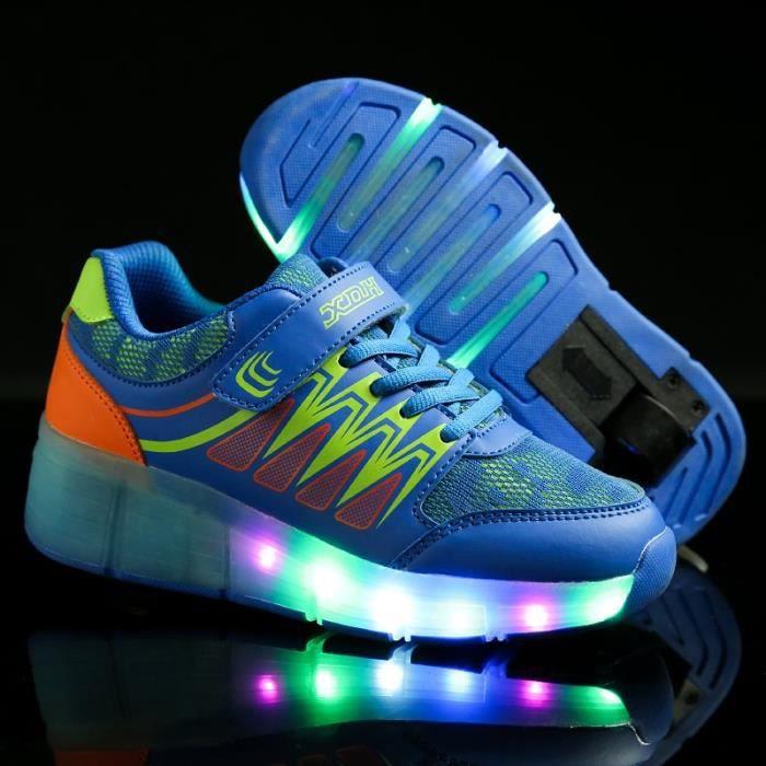 Enfants chaussures roulettes LED lighted USB chargable à roulettes clignotants wheely unisexes enfant sneakers avec roue