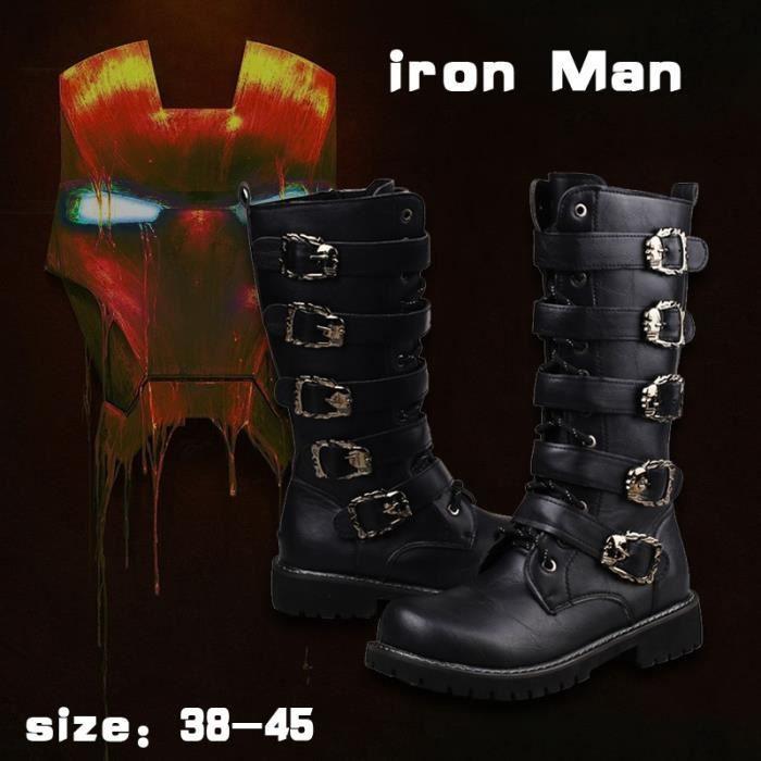 Hommes noirs Bottes de combat Boucle de ceinture Martin Motorcycle Bottes Chaussures Homme Bottes militaires en cuir