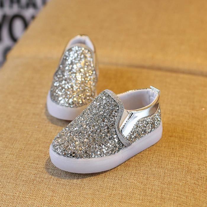 BOTTE Baskets de mode bébé LED lumineux enfant en bas âge chaussures colorées occasionnels légers@ArgentHM