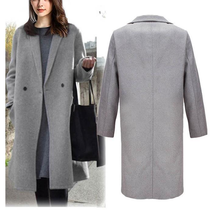 how to buy exquisite design detailed look femme dame fille hiver Lapel Manteau Trench Veste longue parka Pardessus  Outwear gris