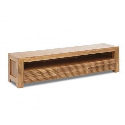 meuble tv loft ii 1 niche 3 tiroirs teck mas achat vente meuble tv meuble tv loft ii. Black Bedroom Furniture Sets. Home Design Ideas